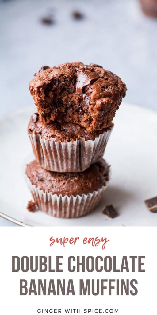 Simple Pinterest pin with text at the bottom and one image of chocolate banana muffins at the top.