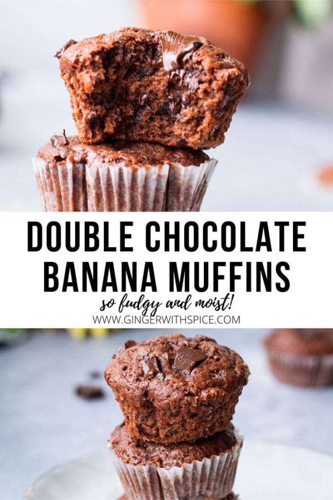 Two images from post and black text: Double Chocolate Banana Muffins. Pinterest pin.