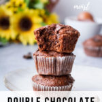Image with chocolate muffins and sunflowers + text overlay at the bottom. Pinterest pin.
