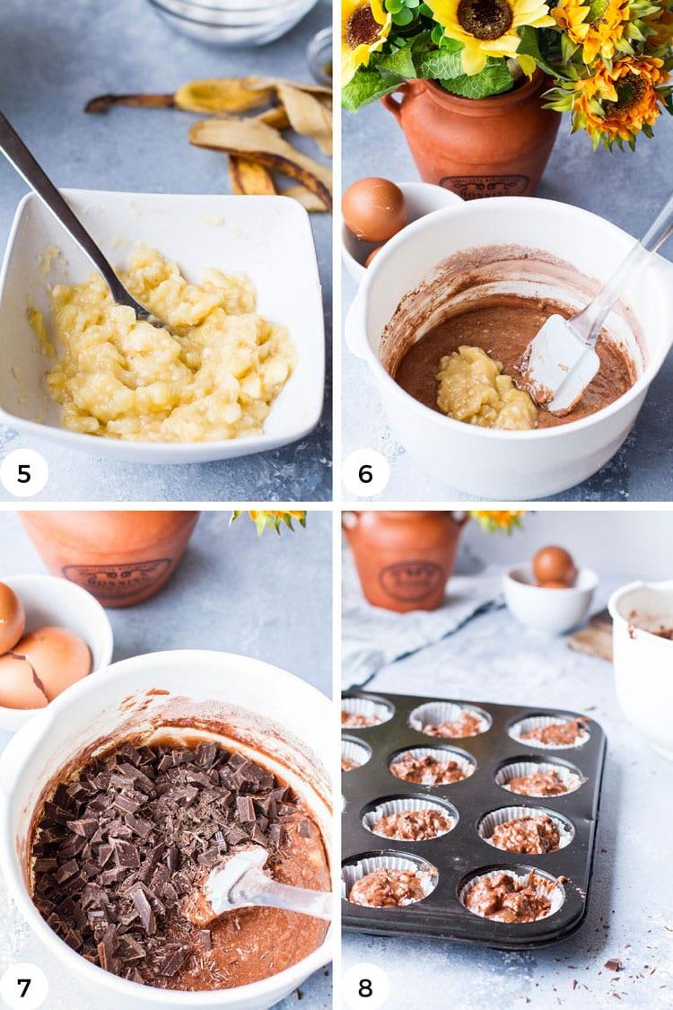 Steps to make chocolate banana muffins batter.