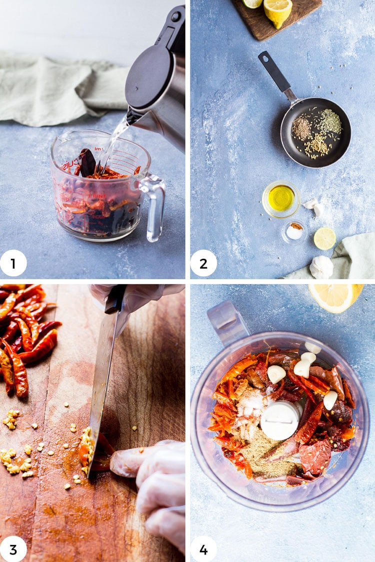 Steps to make your own harissa chili paste.