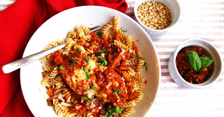 Easy Mozzarella Chicken with Sun-Dried Tomato Pesto Sauce