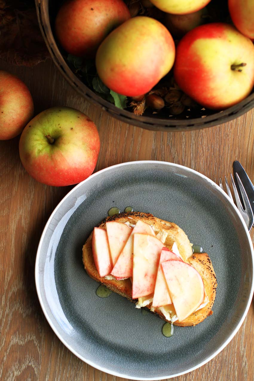 Apple Honey Brie Toast, apples in basket.