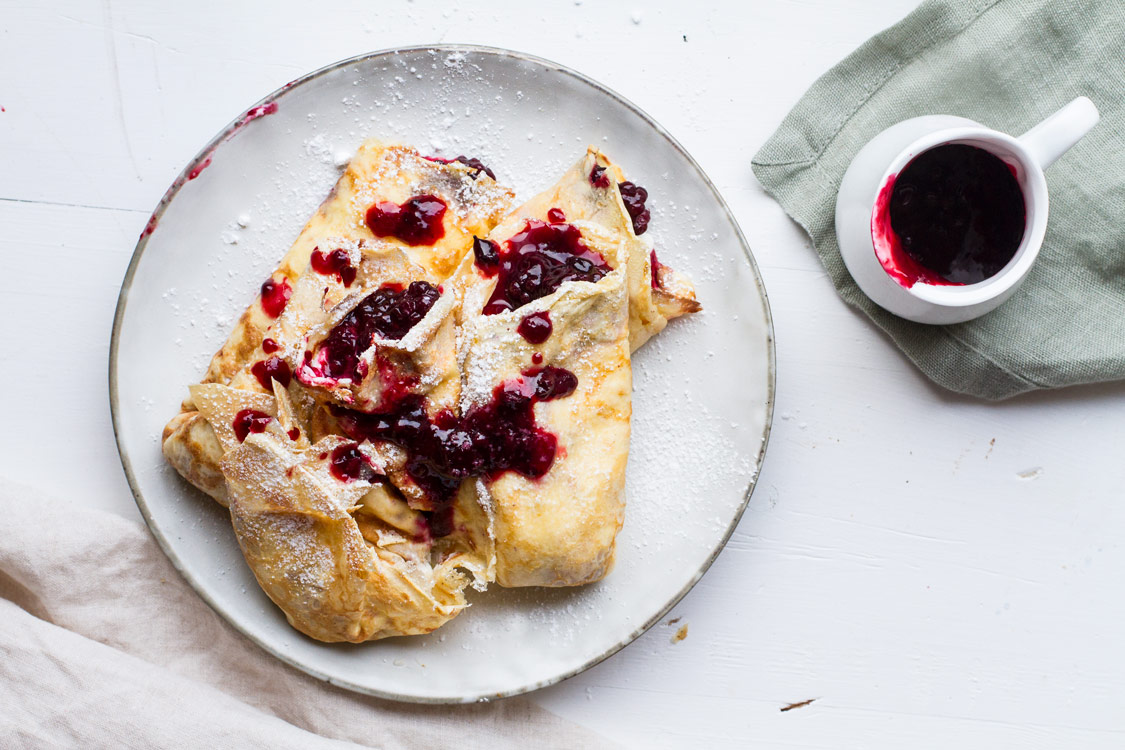 Crepes with Lemon Cream Cheese and Blackberry Jam