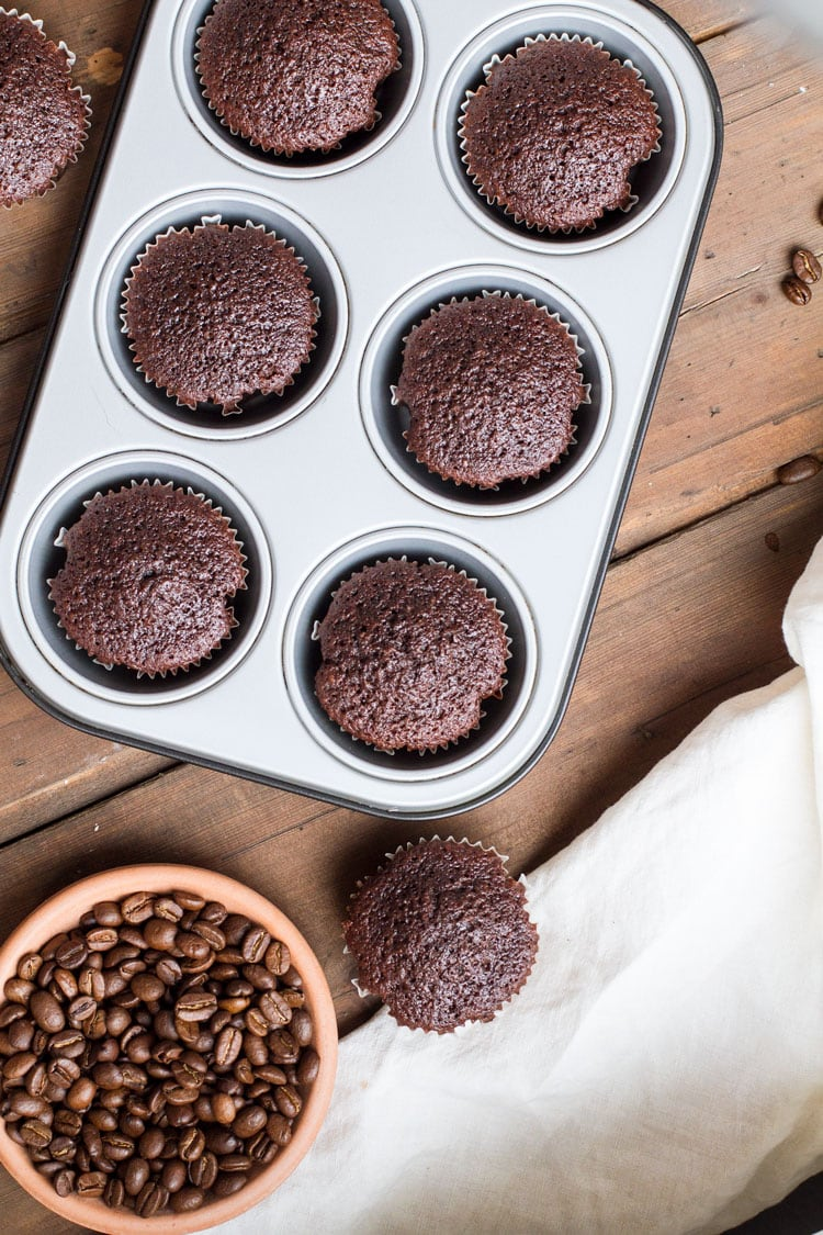 Chocolate cupcakes baked in a muffin tin.