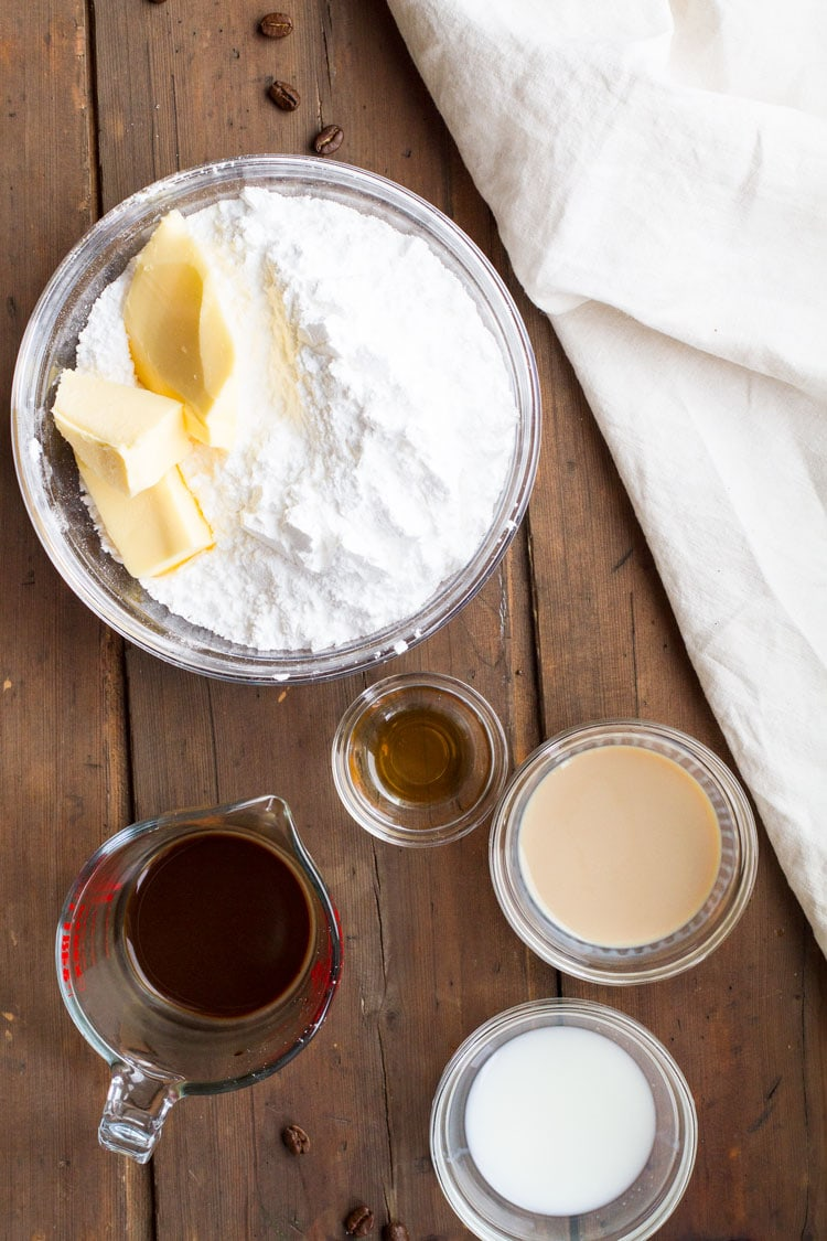 Ingredients to make Baileys frosting.