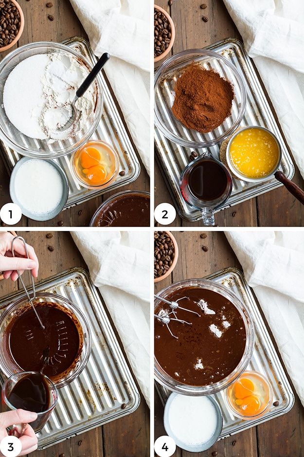 First four steps to make cupcake batter.