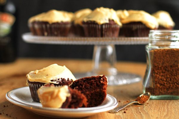 Coffee and Chocolate Cupcakes with Irish Baileys Frosting