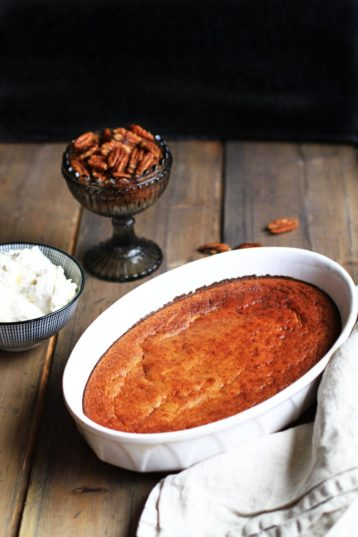 Healthy Spiced Pumpkin Soufflé with Maple Pecans