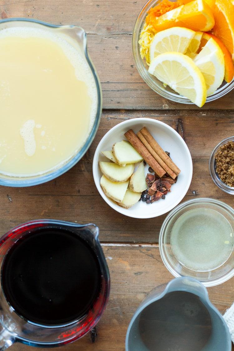 Ingredients to make mulled wine.