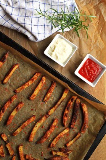 Rosemary Fries with Garlic Cream Cheese Dip