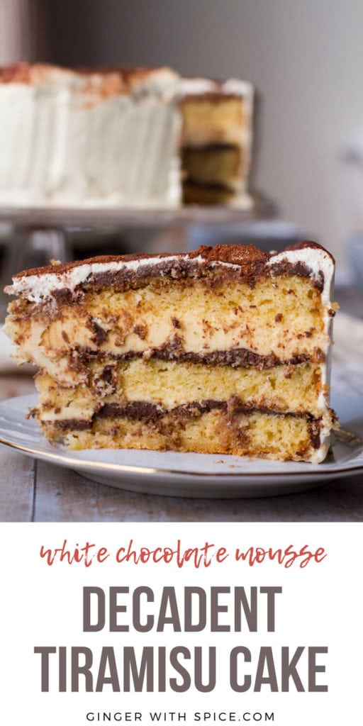Close-up of a slice of tiramisu cake. Pinterest pin with text.