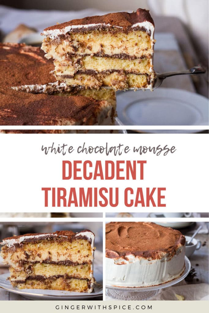 Tiramisu Cake pinterest pin with text overlay. 3 images of the cake.