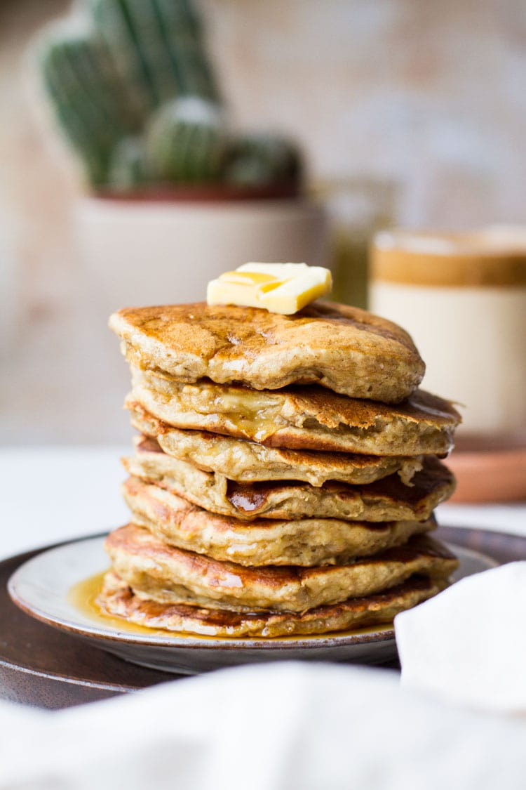 Stack of healthy banana pancakes seen straight on.
