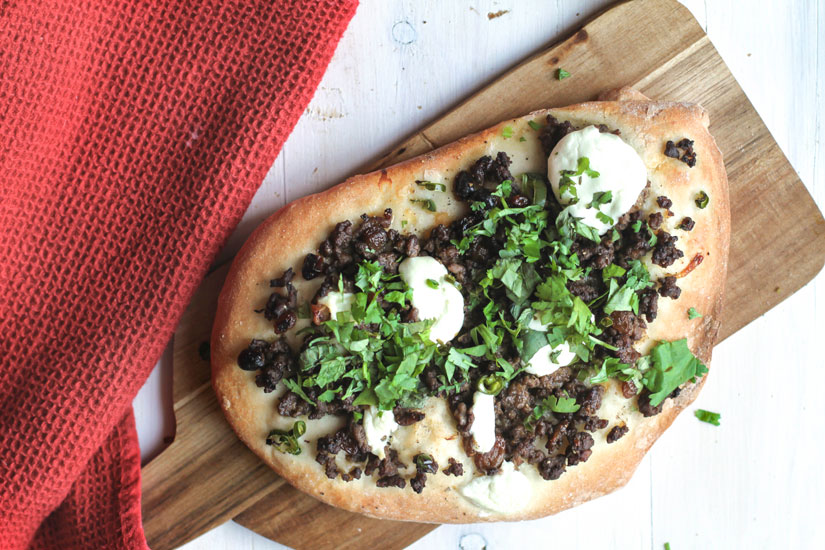 Middle Eastern Flatbread with Spiced Beef and Mint