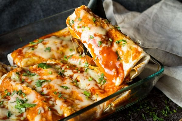 Cheesy Beef and Beans Enchiladas with Homemade Enchiladas Sauce