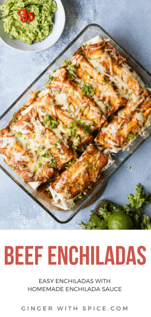 Casserole of beef enchiladas, guacamole on the side. Pinterest pin.