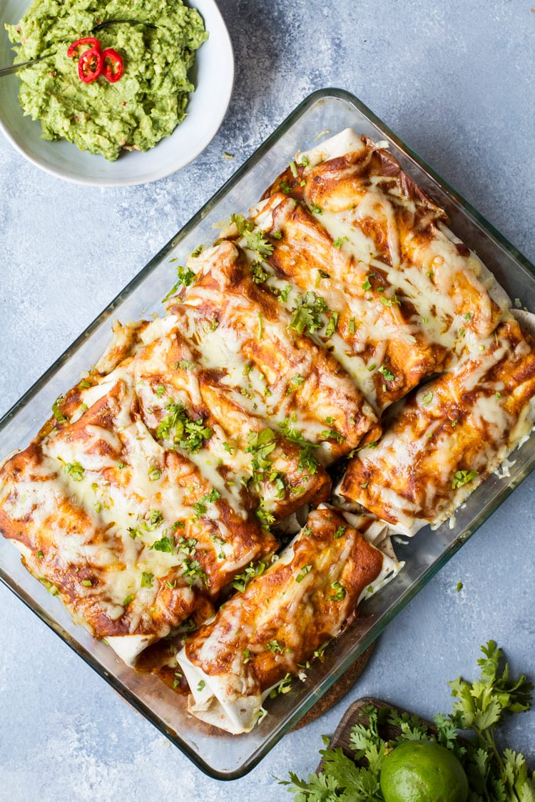 Casserole of beef and beans enchiladas. Flatlay.