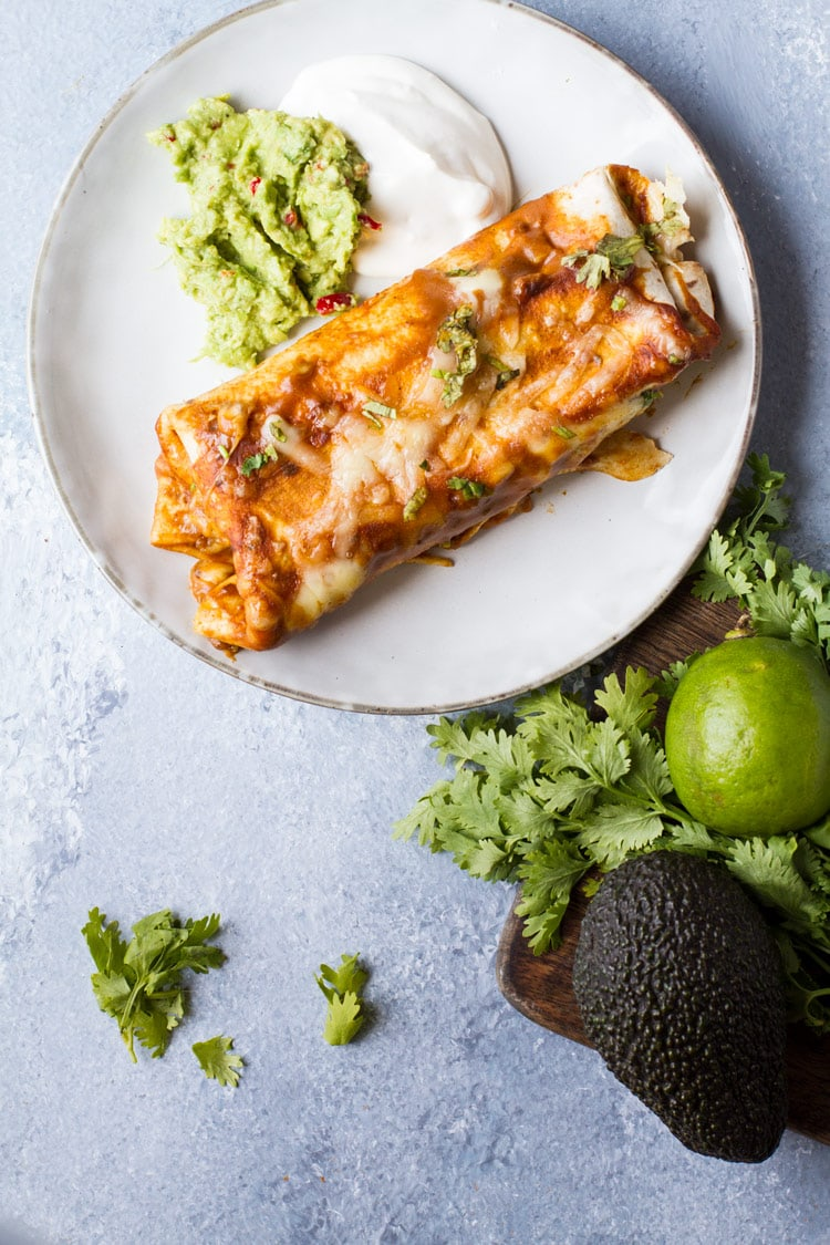 A grey plate with enchiladas. Blue background.
