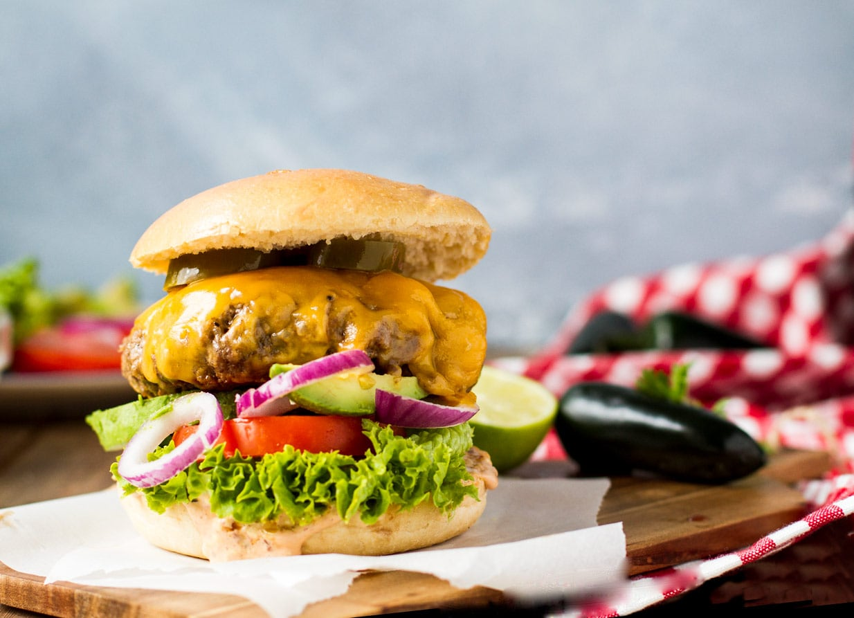 Chipotle Cheddar Burger with Jalapeños and Chipotle Lime Mayo
