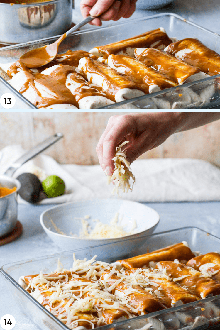 Step by step photos for spreading sauce and cheese on enchiladas.