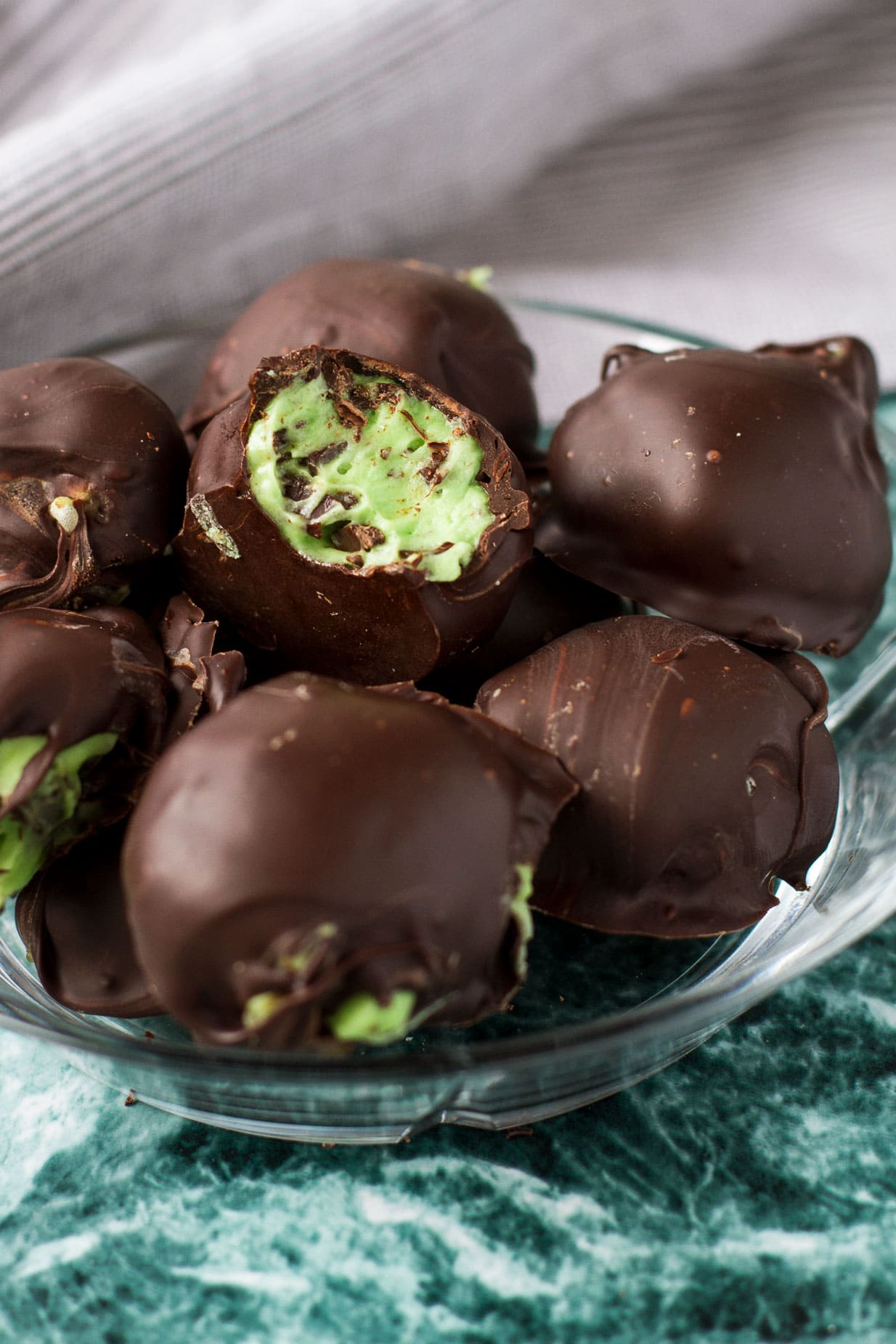 Peppermint Cream Cheese Filled Truffles