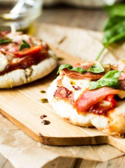 Serrano Ham and Mozzarella Pita Pizzas with Za'atar and Sun-Dried Tomato Pesto