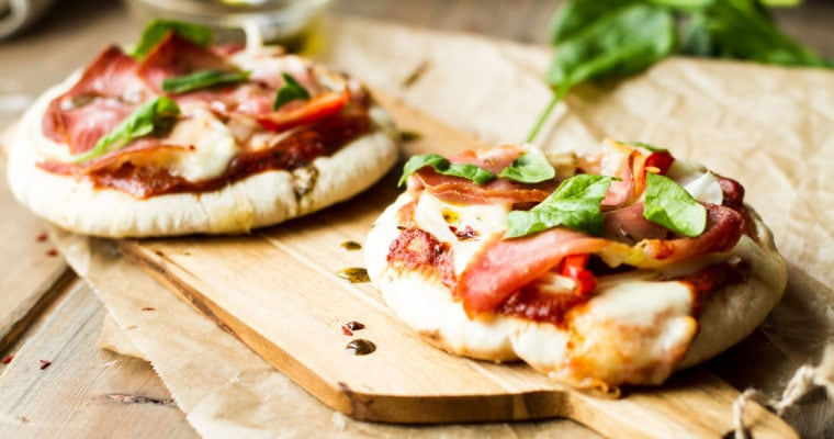 Serrano Ham and Mozzarella Pita Pizzas with Za'atar and Sun-Dried Tomato Pesto