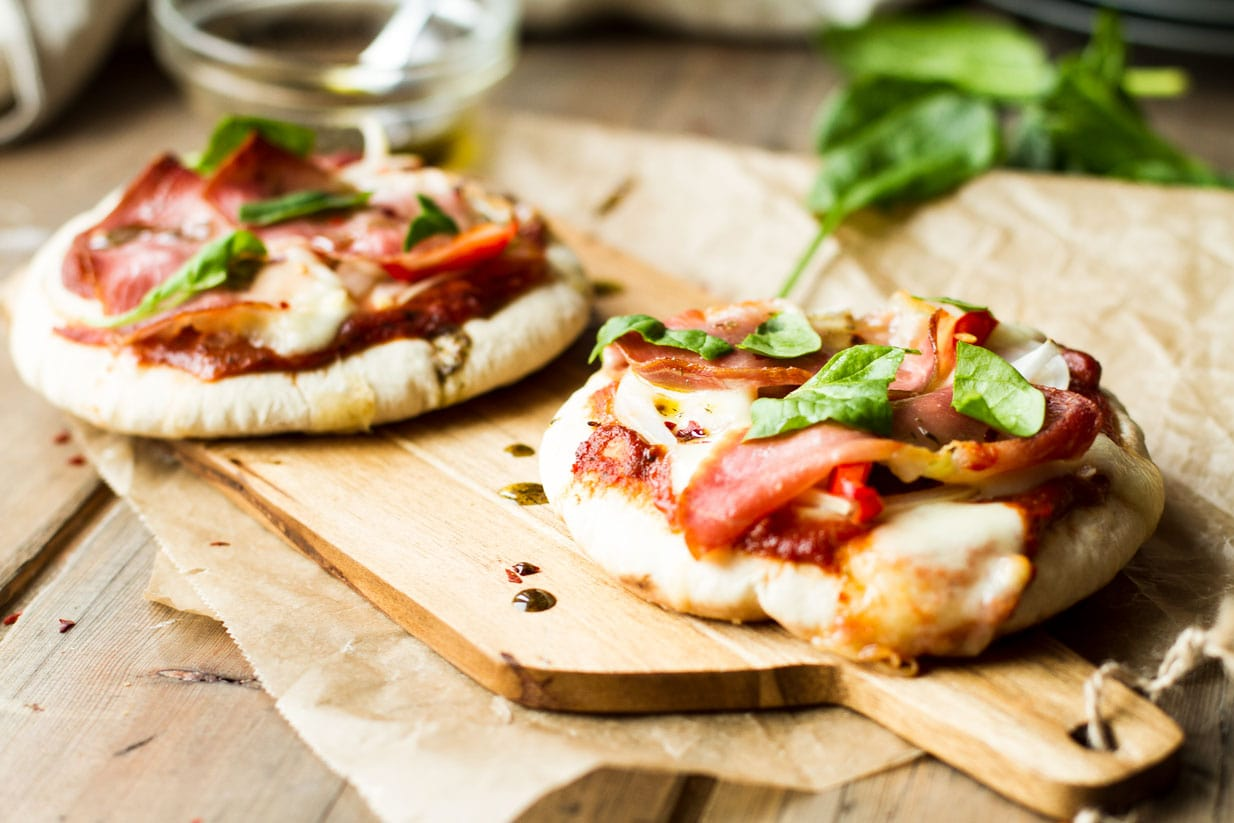 Serrano Ham and Mozzarella Pita Pizzas