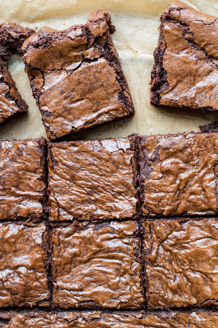 Close-up of 9 squares of fudgy chocolate brownies.