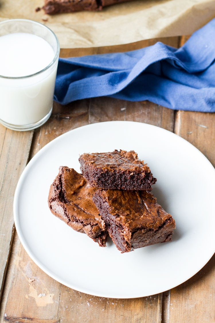 Three brownie squares on a white plate, milk in the background.
