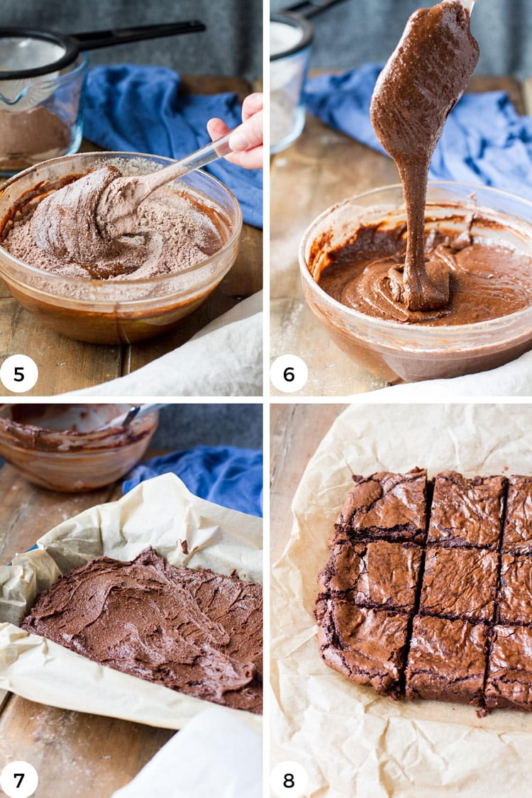 How to fold cake batter and baking brownies.