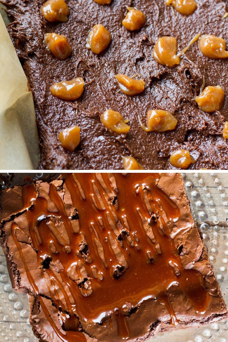 Two different ways of adding caramel to brownies.