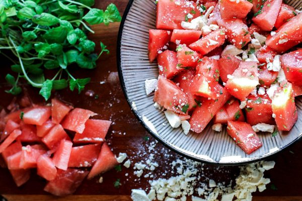 Watermelon Salad with Feta Cheese and Mint