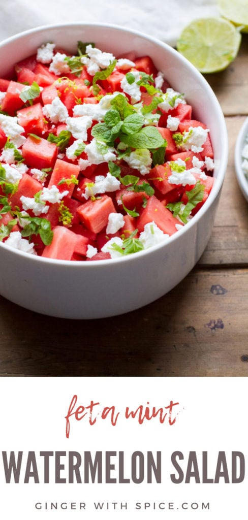 Watermelon salad in a white bowl. Backlighting. Pinterest pin.