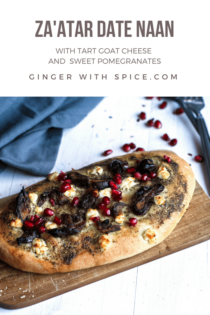 Za'atar Dates and Goat Cheese Naan with Pomegranates