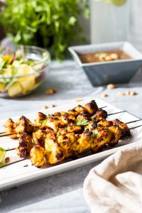 Curry Coconut Chicken Satay with Mango Cucumber Salad