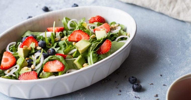Strawberry Arugula Summer Salad with Lemon Vinaigrette and Lavender