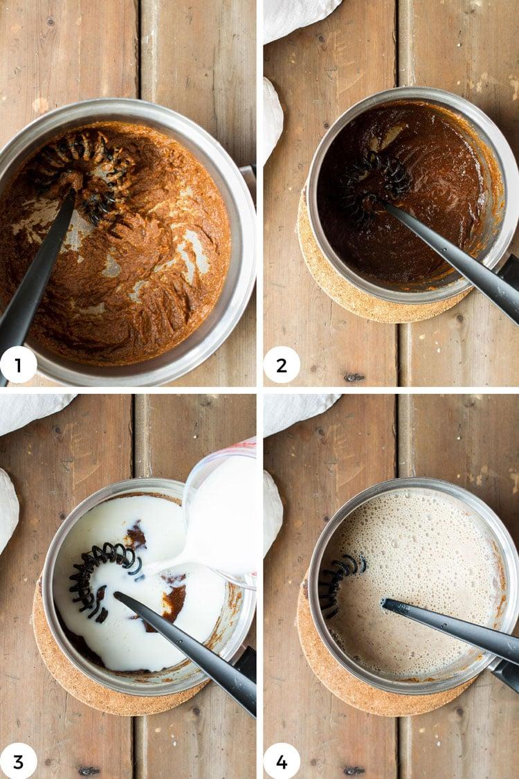 Steps to make the pumpkin spice milk.