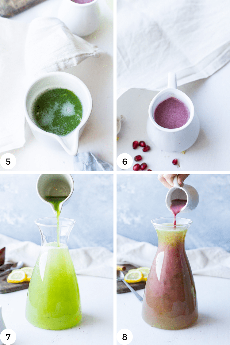 Instructions to make cucumber and pomegranate juice.