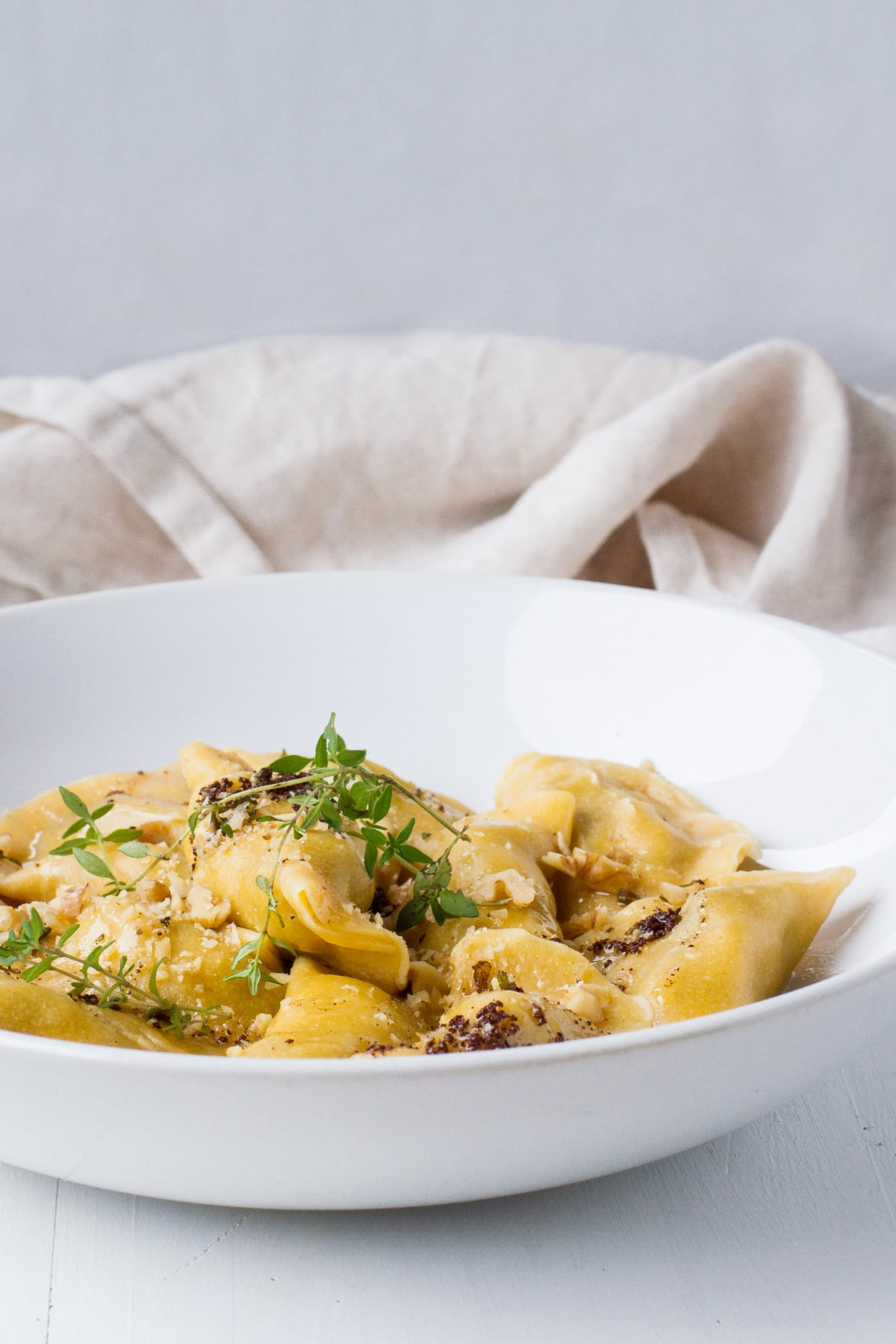 Wild Mushroom Ravioli with Sage Brown Butter and Roasted Walnuts
