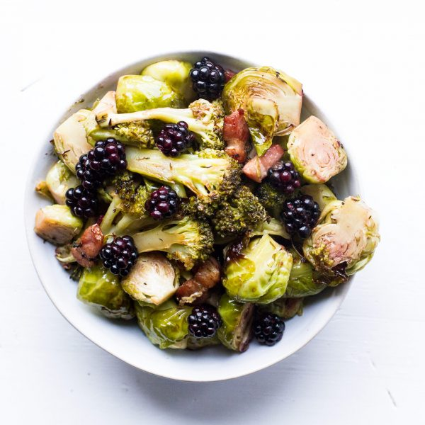 Blackberry Glazed Brussels Sprouts and Broccoli