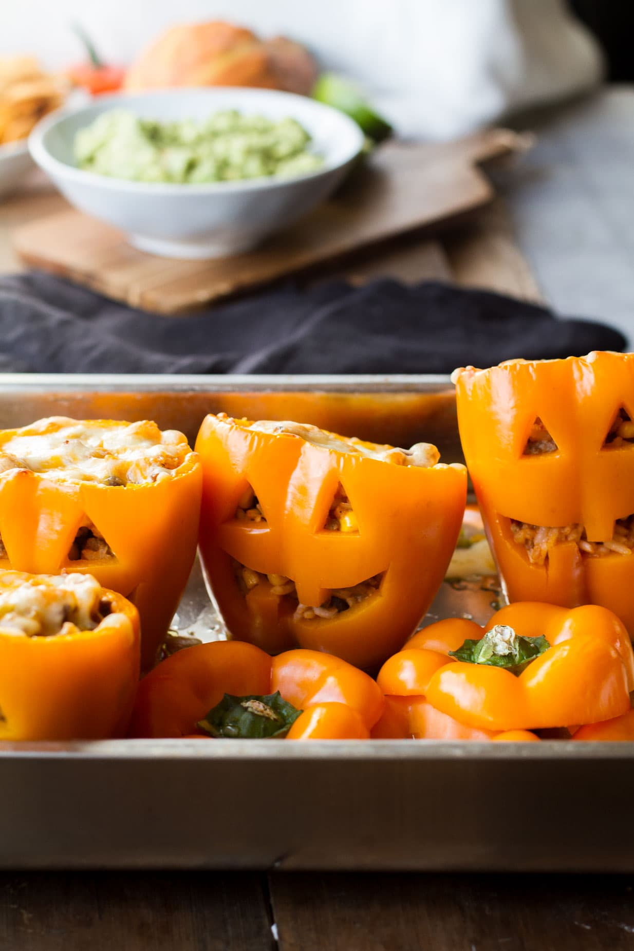 Rice and Beans Jack O'Lantern Peppers