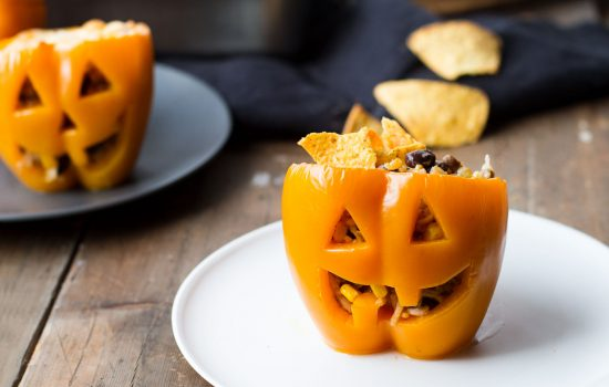 Rice and Beans Halloween Jack O'Lantern Peppers
