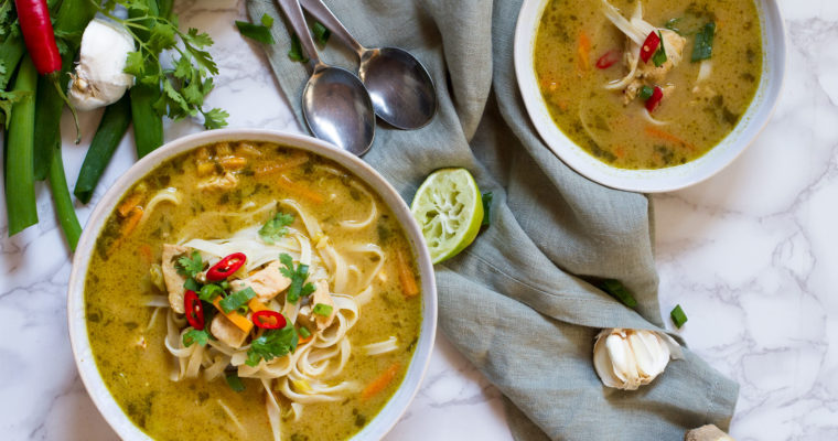 Skinny Thai Chicken Noodle Soup to Revitalize