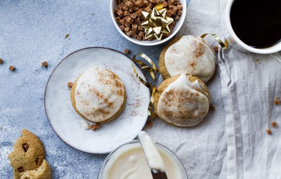 Vixen's Soft and Chewy Eggnog Cookies with Creamy Maple Eggnog Frosting