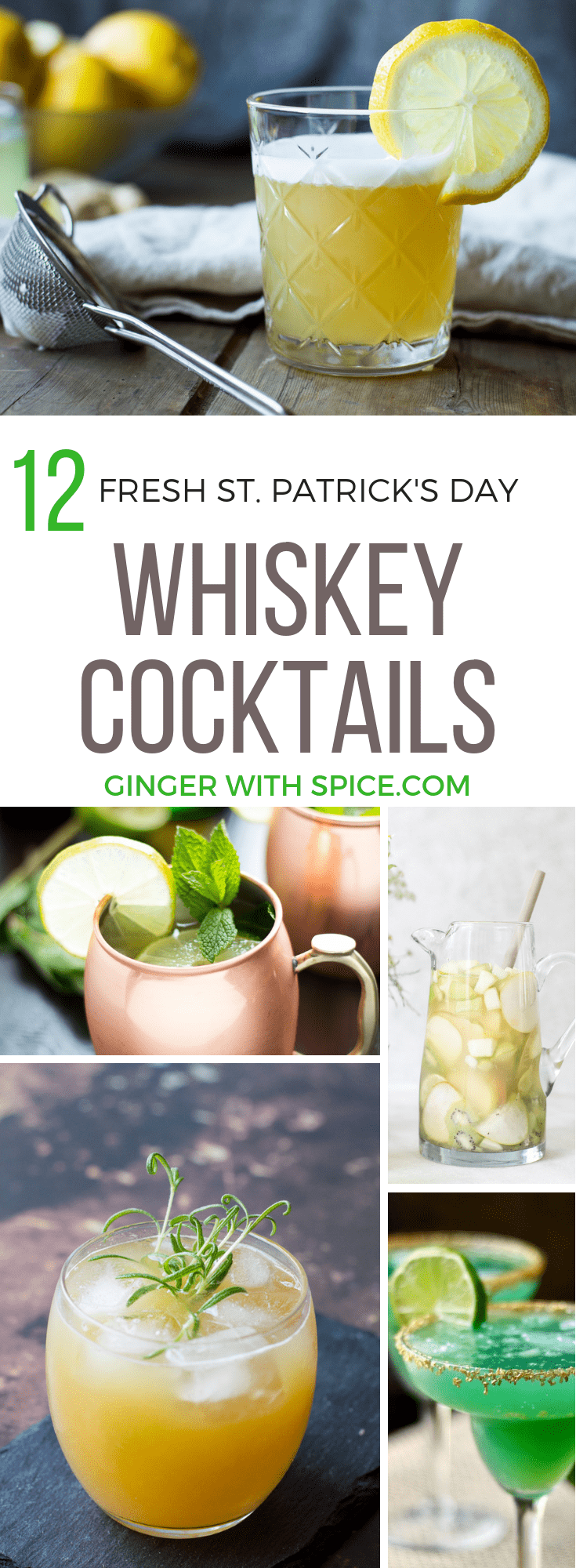 Pinterest pin for blog post 12 Refreshing Whiskey Cocktails for St. Patrick's Day