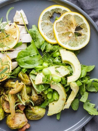 Healthy Baked Lemon Chicken + Green Spring Salad