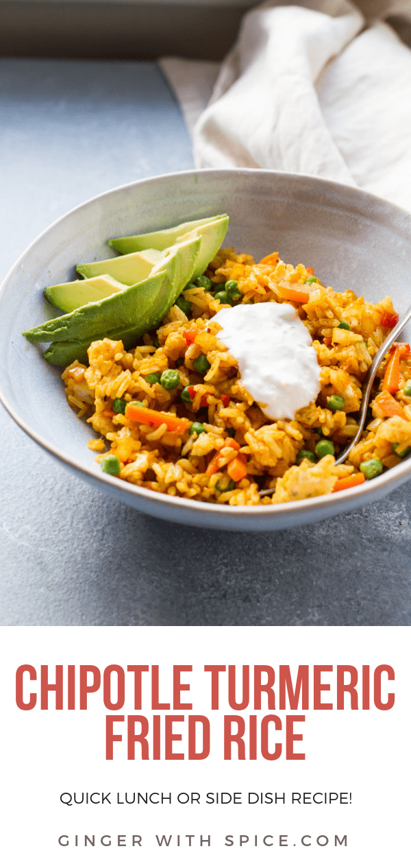 Pinterest pin of Mexican Fried Rice in a blue bowl with avocado slices and sour cream dollop.