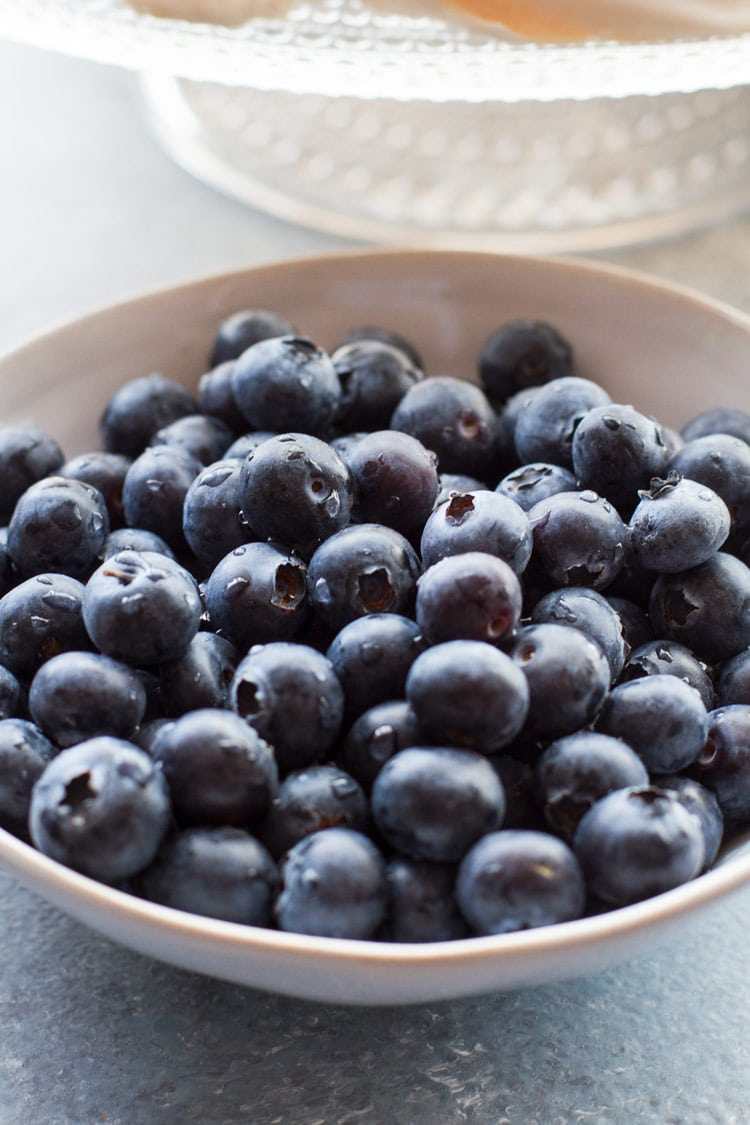 A small bowl of blueberries, freshly washed.